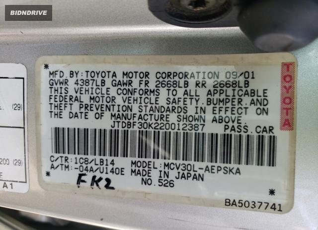 Lot #1686762479 2002 TOYOTA CAMRY LE salvage car