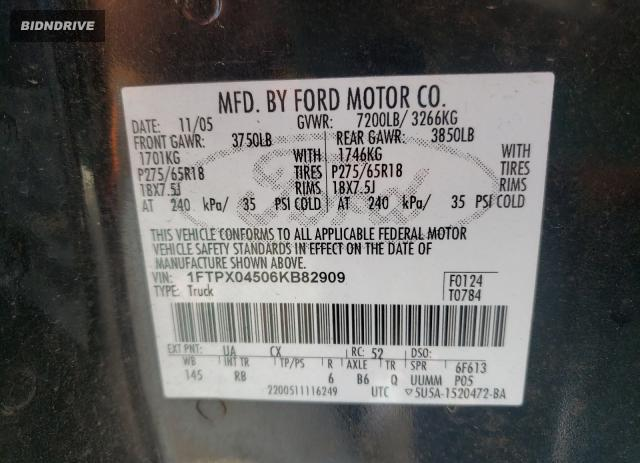 Lot #1693182583 2006 FORD F150 salvage car