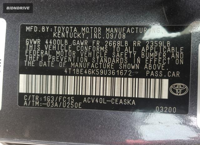 Lot #1693620523 2009 TOYOTA CAMRY BASE salvage car