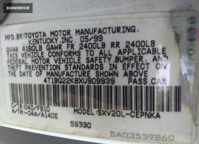 Lot #1776443779 1999 TOYOTA CAMRY LE salvage car